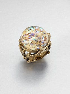 Stephen Dweck - Abalone & Rock Crystal Dome Ring