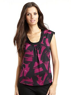 Catherine Malandrino - Satin Abstract Blouse/Fuchsia
