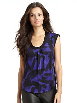 Catherine Malandrino - Satin Abstract Blouse/Purple