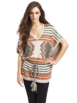 Design History - Aztec Striped Sweater Poncho