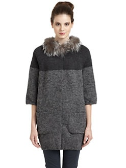 Hanii Y - Fox Fur-Trimmed Colorblock Cardigan