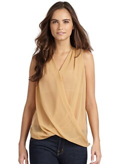 Maggie Ward - Semi-Sheer Crisscross Silk & Linen Drapey Top/Skin