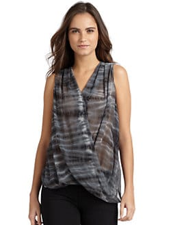 Maggie Ward - Semi-Sheer Crisscross Silk & Linen Drapey Top/Multi