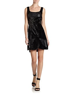 Alberta Ferretti - Mixed Media Sheath Dress