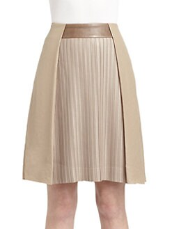 Under.Ligne by Doo.Ri - Pleated Leather Waist Skirt