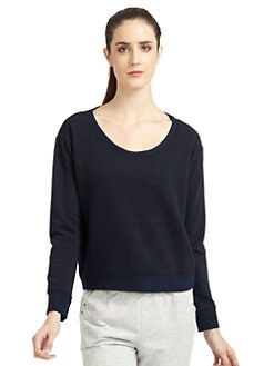 So Low - Cropped Dolman Sweatshirt/Navy