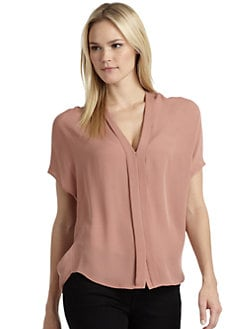 Vince - Silk Chiffon Pleat Front Blouse