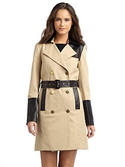 Cynthia Steffe - London Leather-Trimmed Trenchcoat