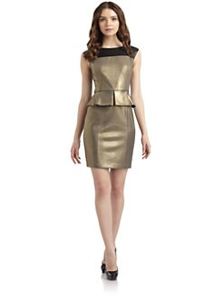Cynthia Steffe - Dylan Peplum Metallic Sheath Dress
