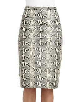 Tibi - Snakeskin-Embossed Leather Pencil Skirt