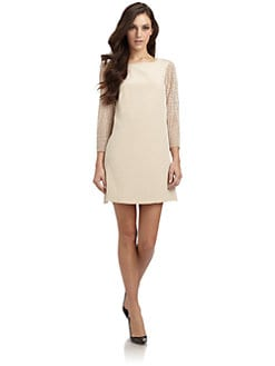 Tibi - Labyrinth Silk Lace Sleeve Dress