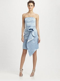 ABS - Strapless Draped Rose Dress/Periwinkle