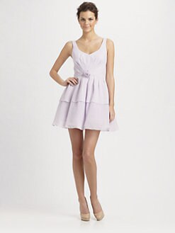 ABS - Rosette V-Neck Chiffon Dress/Lilac