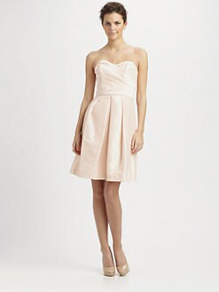 ABS - Pleated Strapless Taffeta Dress