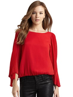 Alice + Olivia - Briar Chiffon Pleated Sleeve Blouse