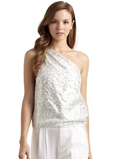 Alice + Olivia - Kerrin One-Shoulder Metallic Top
