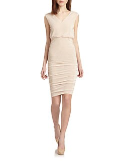 Alice + Olivia - Ruched Glittered Dress