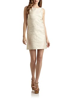 Alice + Olivia - Mame Metallic Woven Sheath Dress