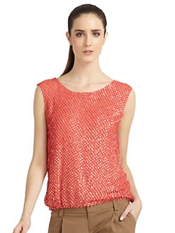 Alice + Olivia - Blume Silk Sequin Top