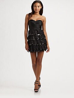 BCBGMAXAZRIA - Strapless Tiered Sequin Dress