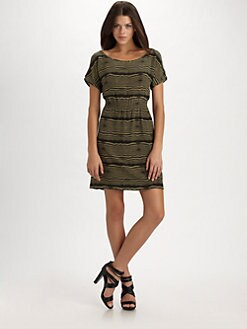 Geren Ford - Silk Split Shoulder Dress/Black & Army Green