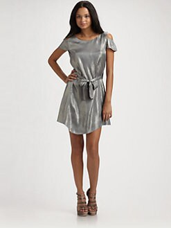 Geren Ford - Sashed Silk Split-Shoulder Dress/Cement Metallic