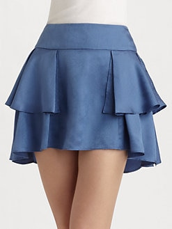 Geren Ford - Ruffled Silk Jacquard Skirt/Sky