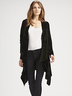 Alice + Olivia - Chenille Cascade Long Cardigan/Forest Green