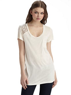 Young Fabulous & Broke - Beaded Shoulder Tee/Ivory