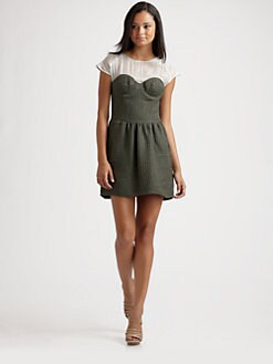 Geren Ford - Sheer Yoke Contrast Bustier Dress/Army Green