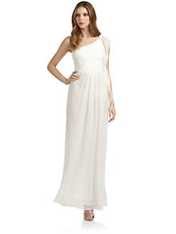 Alberta Ferretti - One Shoulder Chiffon Evening Dress/White