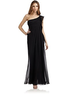 Alberta Ferretti - One Shoulder Chiffon Evening Dress/Black