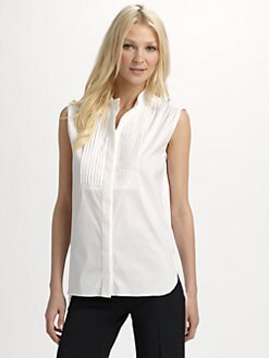 Alberta Ferretti - Sleeveless Pintucked Top