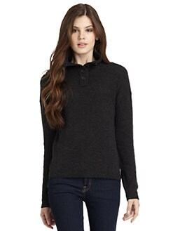 vkoo - Cashmere Button Funnelneck Sweater