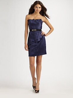 BCBGMAXAZRIA - Jewel Belted Draped Satin Dress