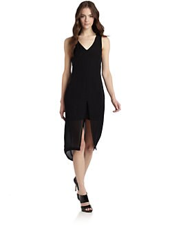 Gar-De - Sleeveless Front-Slit Silk Dress