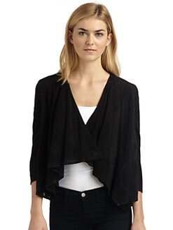 Gar-De - Sinai Perforated Suede Drape Jacket/Black