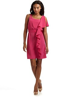 Cynthia Steffe - Wesley Side Ruffle Silk Dress