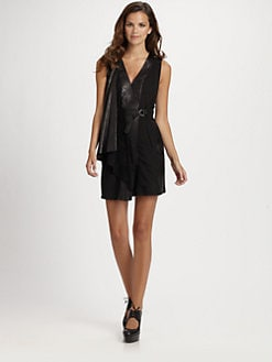 Catherine Malandrino - Draped Leather Dress