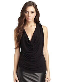David Lerner - Lambskin-Trimmed Sleeveless Top