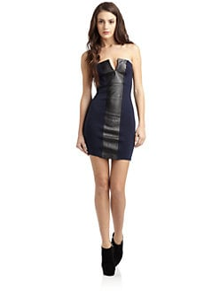 David Lerner - Leather-Paneled Strapless Dress