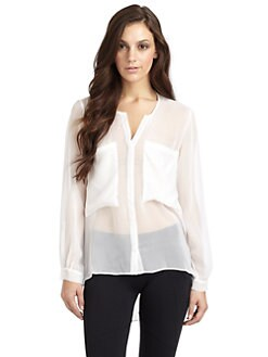 David Lerner - Sheer Silk Crepe Blouse