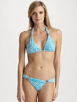 Carmen Marc Valvo - Beaded Abstract Print Bikini Top