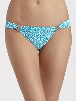 Carmen Marc Valvo - Beaded Abstract Print Bikini Bottom