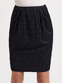Carmen Marc Valvo - Beaded Crocheted Lace Skirt