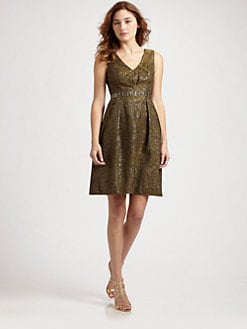 Carmen Marc Valvo - Beaded Floral Brocade V-Neck Dress