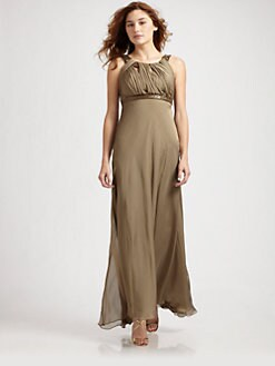 Carmen Marc Valvo - Ruched Circle Neck Long Chiffon Dress