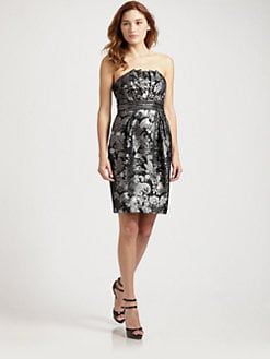 Carmen Marc Valvo - Embellished Strapless Floral Brocade Dress