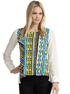 Thakoon Addition - Silk & Cotton Tribal Blouse