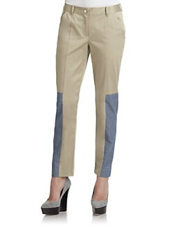 Thakoon Addition - Poplin & Denim Slim Pants